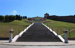 Chkalov trappuppgång i Nizhny Novgorod, Ryssland Royaltyfri Bild