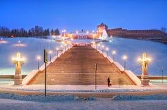 Chkalovskayatrap in de avond verlichting royalty-vrije stock foto's