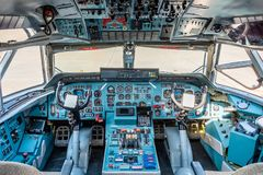 Chkalovski Airport, Moscow Region, Russia - August 12, 2018: Overview in pilot`s cockpit of military transport aircraft Antonov A stock photo