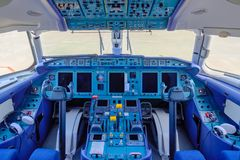 Chkalovski Airport, Moscow Region, Russia - August 12, 2018: Overview in pilot`s cockpit of passanger airplane Antonov AN-148.  royalty free stock photos
