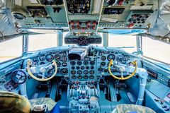 Chkalovski , Moscow Region, Russia - August 12, 2018: Overview interrior pilot`s cockpit of airplane IL-18.  royalty free stock photography