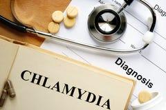 Chlamydia de la palabra en un papel y píldoras foto de archivo