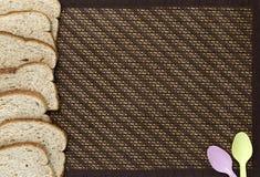 Chlebów plasterki na tle Obraz Stock