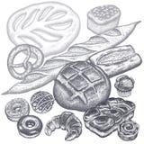 Chleb, babeczki i ciasta ustawiający, royalty ilustracja