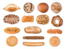 Chleb, baguettes i tortowa kolekcja odizolowywający z ścinek ścieżką, zdjęcia stock