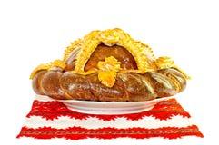 Chleb dekorujący z kwiatami Fotografia Royalty Free