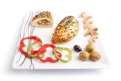 Chleb faszerujący z Pieczarką Obrazy Stock