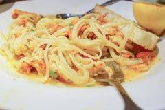 Chleb, homar Scampi Linguini i lud, Zdjęcia Stock