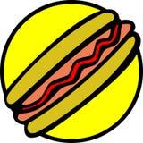 chleb hotdoga kiełbasek ketchupu wektora ilustracji
