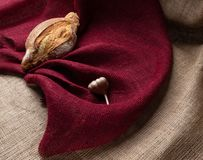 Chleb i czosnek na tle życie kolorowy burlap, wciąż obraz stock