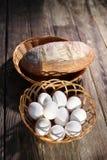 Chleb i jajka na stole Zdjęcie Royalty Free