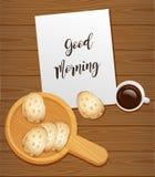 Chleb i kawa dla śniadania ilustracja wektor