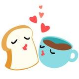 Chleb i kawa jesteśmy kochanka śniadaniem Obrazy Stock