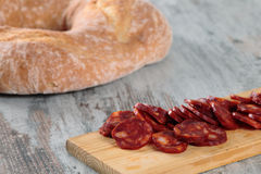 Chleb i kiełbasa Fotografia Stock