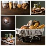 Chleb i mąka z mlekiem i jajkami fotografia stock