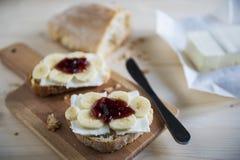 Chleb, masło, dżem i banan, Zdjęcie Stock