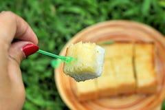 Chleb, masło, nakrywał mleko z smakowitym Fotografia Royalty Free