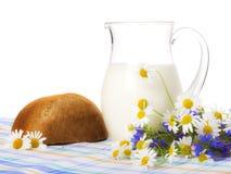 chleb pola kwiatów mleka Fotografia Royalty Free