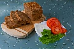 Chleb, pomidory i ser, Zdjęcia Stock