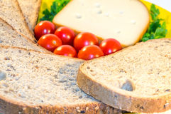 Chleb, pomidory i ser, Obraz Royalty Free