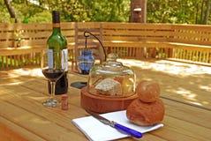chleb serowy wina pokładu Obrazy Stock