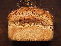 Chleb z kolendrowymi ziarnami na ciemnym drewnie Ostrości sztaplowanie Zdjęcia Stock