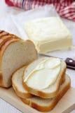 Chleb z masłem dla śniadania Zdjęcie Stock