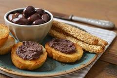 Chleb z oliwnym łbem Fotografia Stock