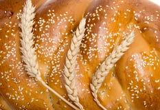 Chleb z pszenicznym ucho zakończeniem Zdjęcia Royalty Free