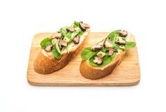 chleb z rakiety i shiitake pieczarką fotografia stock