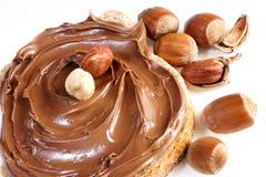 Chleb z słodkiej czekolady hazelnut rozszerzaniem się Obrazy Stock