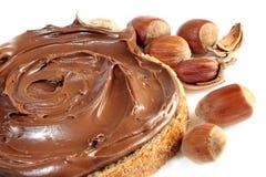 Chleb z słodkiej czekolady hazelnut rozszerzaniem się Obrazy Royalty Free