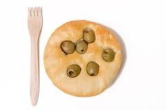 chlebowa płaska oliwka zdjęcie stock