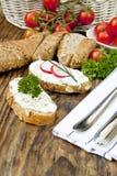 chlebowego curd obiadowy świeży ziele Zdjęcie Stock