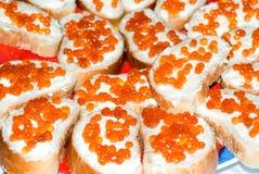 chlebowego kawioru czerwony łosoś Obrazy Royalty Free