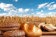 Chlebowi produkty na tle pszeniczny pole zdjęcia royalty free