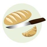 chlebowy croussant nóż Fotografia Stock