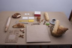 Chlebowy karmowy piekarni brązu zakończenia torta precel Fotografia Stock