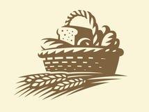 Chlebowy kosz - wektorowa ilustracja Piekarnia emblemat na białym tle ilustracja wektor