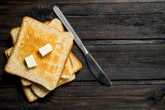 chlebowy masło wznosił toast obrazy stock