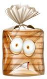 Chlebowy pakunek z okaleczającą twarzą ilustracji