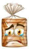 Chlebowy pakunek z płacz twarzą ilustracja wektor