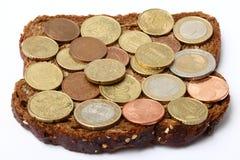 chlebowy pieniądze Zdjęcie Royalty Free