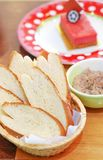 Chlebowy plasterek i deser Zdjęcie Stock