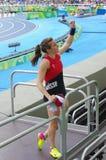 Chler del ¼ de Nicole BÃ, saltador de polo suizo Foto de archivo