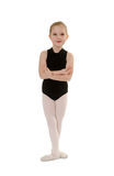 Chlid Ballerina Student Wearing Dance Class Attire. An 8 year old Child Ballet Student in Dance Class Uniform Royalty Free Stock Photography