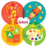 Chlidren education bacground with place for text. Modern flat  illustration. Design element Stock Image