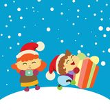 Chlidren happy got a present. Christmas background vector. Chlidren happy got a present on winter. Christmas background vector Royalty Free Stock Image