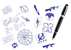 Really chlidren's drawing. Vector chlidren's drawing set with pen Royalty Free Stock Images