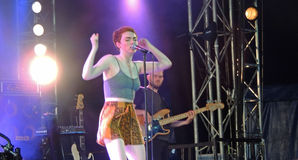 Chloe Howl at The Isle of Wight Festival. Chloe Howl singing in the Big Top at The Isle of Wight Festival in June 2104 Stock Photography